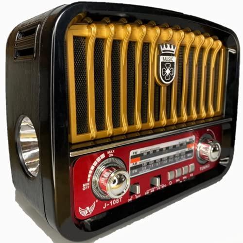 Caixa Som Antiga Radio Portátil Retro Am Fm Sd Usb Bluetooth Com Lanterna (Dourado)