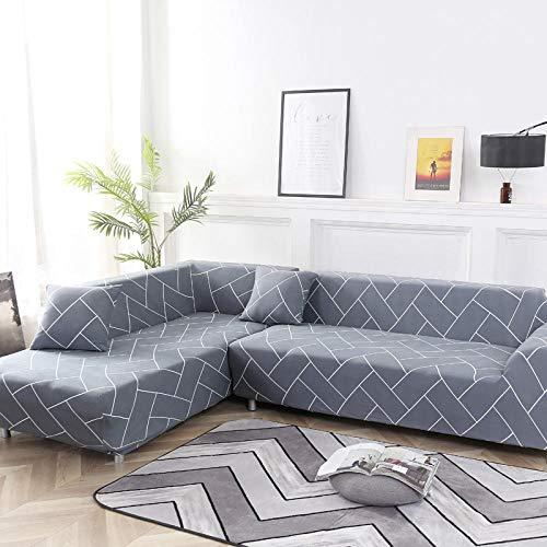 Funda de sofá de Siete plazas en Forma de L, Funda de sillón en Forma de L para Sala de Estar, Funda Protectora Elegante y Suave con Todo Incluido,Color9,4-Seater_235-300cm