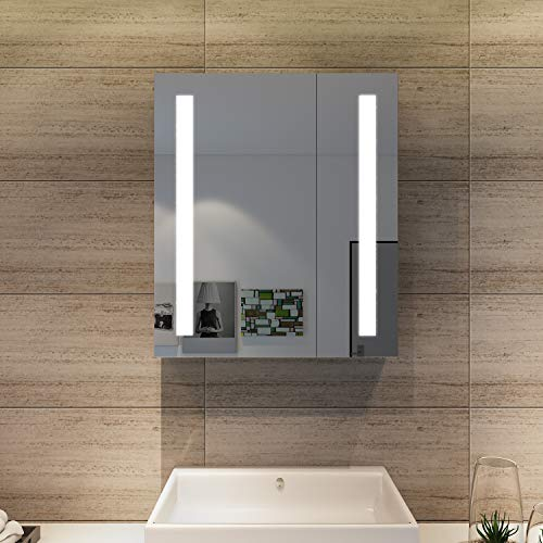 Elegant LED Spiegelschrank mit Steckdose Infrarot Sensorschalter Hochglanz Badezimmerspiegel - Badschrank mit Beleuchtung Spiegelschrank 4