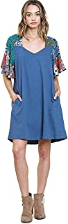 Umgee Women's Mixed Print Short Ruffle Sleeve Knit Mini Dress