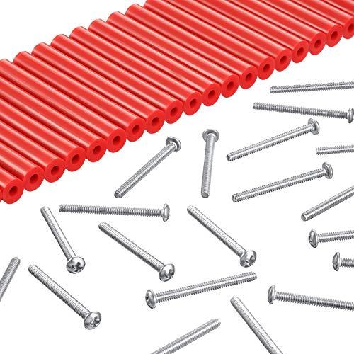 48 Piezas Kit Extensor de Enchufe Eléctrico 24 Interruptores de 3 Pulg. 24 Tornillos Extra Largos de Tomacorriente 1-1/ 2 Pulgadas 6-32 Roscas de Montaje de Dispositivo Cabeza Plana (Rojo)