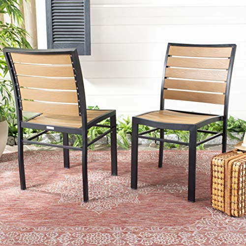 Safavieh PAT4031A-SET2 Outdoor Collection Koda Black and Brown Stackable (Set of 2) Patio Chair
