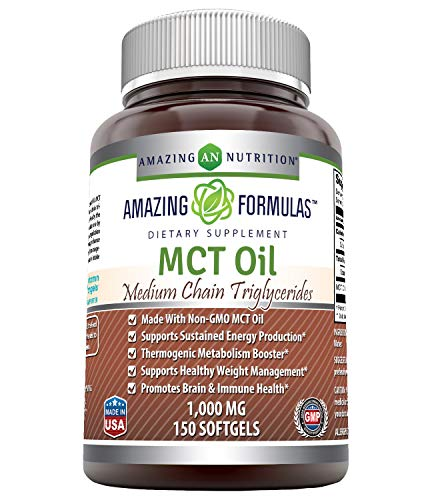 Amazing Formulas MCT Oil 1000 Mg, Softgels (Non-GMO) - Supports Sustained Energy Production* -Thermogenic Metabolism Booster* -Supports Healthy Weight Management* -Promotes Immune Health* (150 Count)