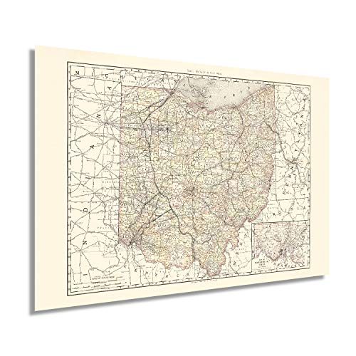 HISTORIX Vintage 1894 Ohio Map Poster - 24x36 Inch Vintage Map of Ohio State Wall Decor - Ohio State Map - Old Ohio State Poster Showing Counties and Railroad Lines - Ohio State Wall Art (2 Sizes)