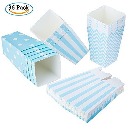 Diealles 36PCS Mini Caja de Fiesta de Palomitas Contenedor de Dulces para Los Bocados del Partido, Los Dulces, Las Palomitas y Los Regalos - Azul