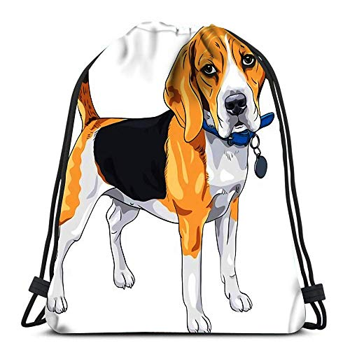 Unisex Drawstring Bags,Color Sketch Serious Dog Beagle Breed Standing With Blue Collar Casual Sackpack Backpack Men & Women Drawstring Backpack Sport Gym Bag For Running Climbing Traveling