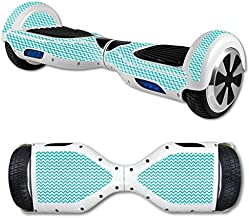 MightySkins Skin Compatible with Self Balancing Mini Scooter Hover Board - Turquoise Chevron | Protective, Durable, and Unique Vinyl Decal wrap Cover | Easy to Apply, Remove | Made in The USA