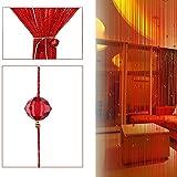Cicony Cordón borla de cristal cadena de perlas para ventana cortina cortina puerta panel decoración habitación 2 m (rojo)