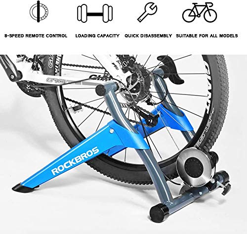 JLDN Bicycle Turbo Trainer, Bike Resistance Trainers w/ 8 Levels Resistance Front Wheel Riser Block Bike Trainer Stand Quiet Noise Reduction for Mountain & Road Bikes,Blue