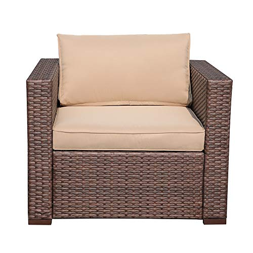Patiorama Single Sofa Chair All Weather Outdoor Patio Armchair with Beige Cushions,29 x 32 x 25 inch