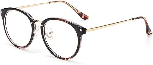 AGIUGIU Stylish Clear Lens Fashion Glasses Samll Circle Round Frame Blue Light Blocking for Computer GNN01