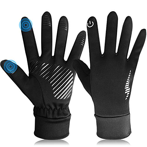 DmgicPro Mens Winter Gloves Touch Screen, Cycling Gloves Anti-slip for Smartphone Texting, Cold Weather Gloves for Riding Running Working Driving, Crystal Velvet lining, 3 Color, Medium