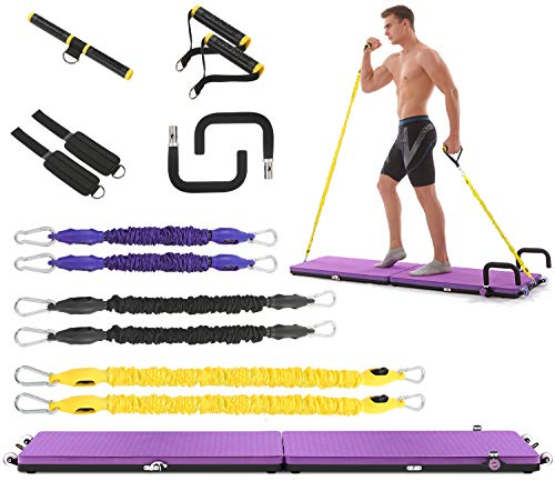 IDEER LIFE All in one Home Gym Workout Set Multifunctional Fitness Exercise Platform Portable Full Body Exercise Home Workout Kit w/Resistance Bands,Push up Bar,Yoga Mat for Muscle Building(Purple)