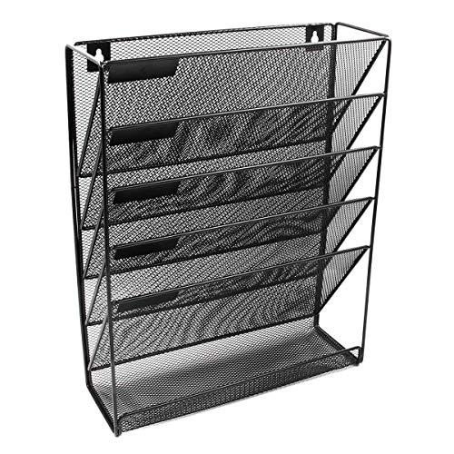 Liseng SttNder - Rejilla de metal para periódicos (5 capas, archivador de archivo, revistas, revistas, almacenamiento para portátil, color negro)