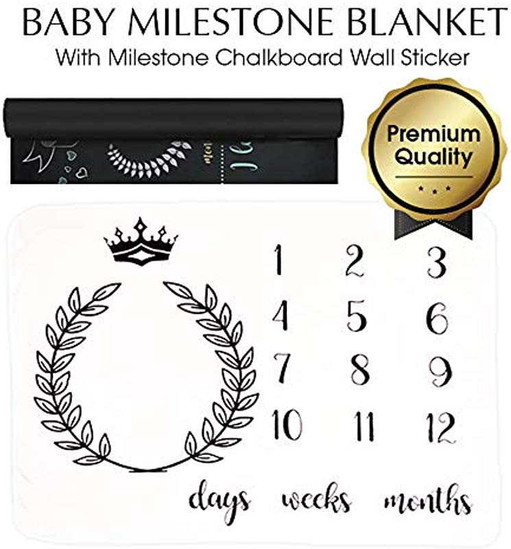 Baby Monthly Milestone Blanket Bundle With Milestone Chalkboard Wall Sticker Premium Ultra Soft Will Not Wrinkle Or Fade Like Muslin Large 50 X 40 Size Perfect For Baby Boy Girl Photo Prop