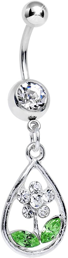 Body Candy Clear April Now free shipping Shower Brings Dangle Flower Max 87% OFF May Belly Rin