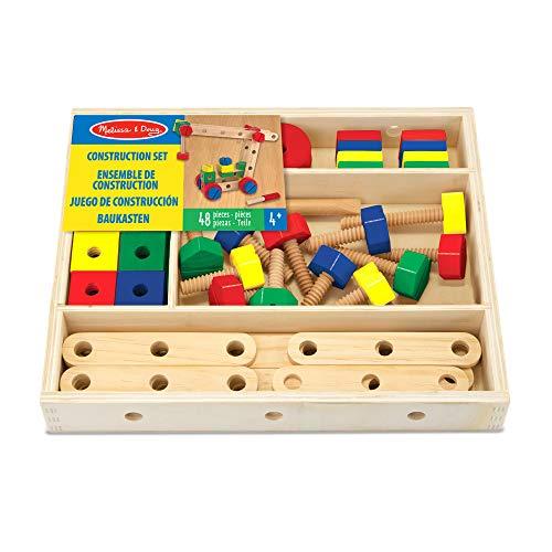 Melissa & Doug- Set de construcción de madera, Color surtido (15151)