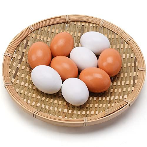 SallyFashion Wooden Fake Eggs 9 Pieces 2 Colors