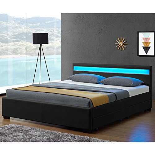 Juskys LED Polsterbett Lyon mit Bettkasten 140 x 200 cm – Bettgestell mit Lattenrost - Kunstleder – schwarz – Jugendbett Jugendzimmer Möbel