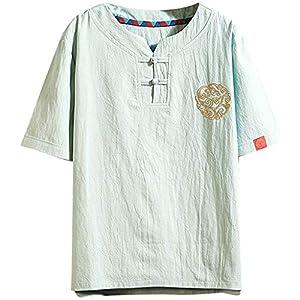 TWIFER Tシャツ メンズ メンズ刺繍リネンTシャツVネック半袖夏ベーシックTシャツ緩いファッションストリートベーシックTシャツレジャーシャツシャツソフト通気性快適な服 (色 : 緑, サイズ : M)