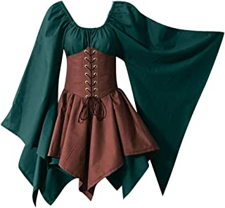 TOTOD Halloween Lady Renaissance Medieval Cosplay Plus Size Gothic Retro Corset Dress for Women