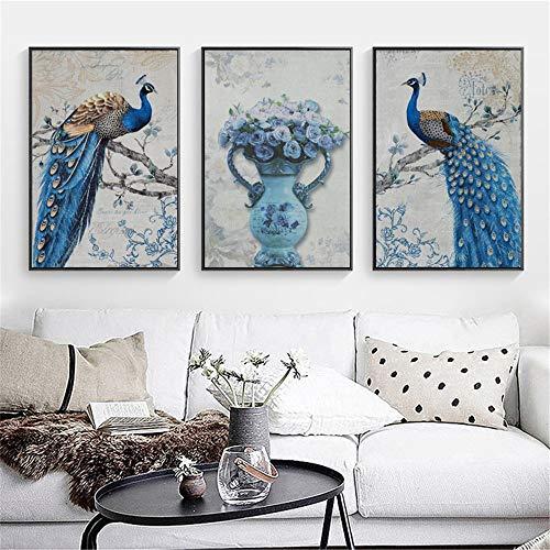 WSNDG Woonkamer decoratieve schilderij kunst slaapkamer schilderijen veranda muurschildering triple canvas schilderij zonder fotolijst 60x90cmx3 G4