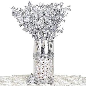Silk Flower Arrangements BalsaCircle 32 Silver Silk Baby Breath Artificial Flowers - 12 Bushes - Wedding Party Centerpieces Arrangements Bouquets Supplies
