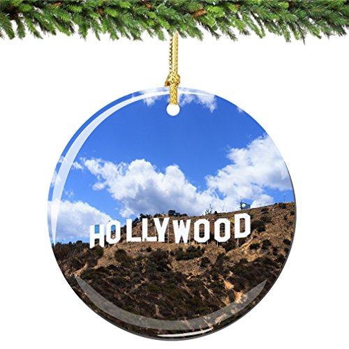 City-Souvenirs Hollywood Christmas Ornament Porcelain 2.75 Inch Double Sided California Christams Ornament