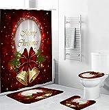 Mitlfuny Halloween coustems Kürbis Hexe Cosplay Gast Ghost Schicke Party Halloween deko,4pcs Weihnachten Duschvorhang Bad Anti-Rutsch-Teppich Teppich WC-Abdeckung Mat Set