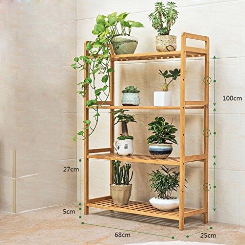 JJJJD Solide étagère en Bois Multicouche intérieur extérieur Plancher Fleur Pot Rack Balcon étagère (Taille : 68 * 25 * 100cm)