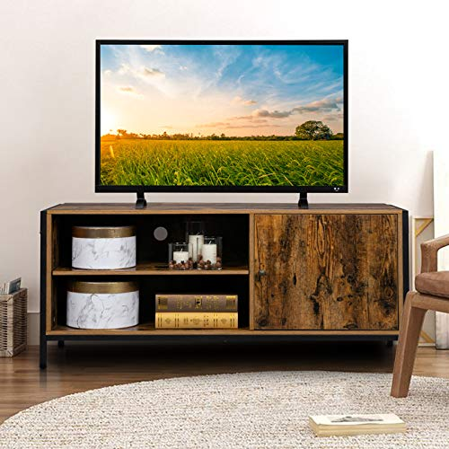 "Bonnlo Vintage TV Stand Media Console Table with Storage Entertainment Center with Cabinet and Shelf Rustic TV Console for TVs up to 50"" in Living Room/Bedroom/Entertainment Room"
