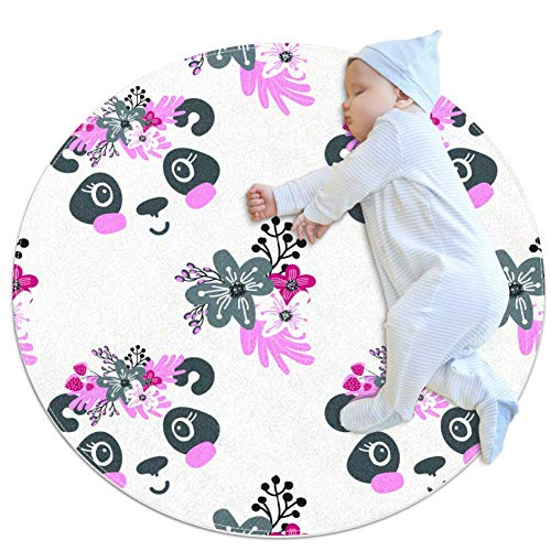 PLOKIJ Alfombra de bebé grande con corona floral y flores, jardín de infantes de niños redondo cálido suave alfombra de suelo, antideslizante para dormitorio infantil de 31.5 x 31.5 pulgadas