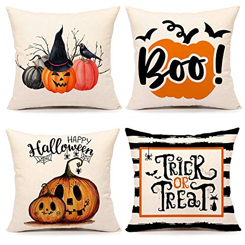 Fall Halloween Pumpkin Throw Pillow Covers 18 x 18 Set of 4 Trick or Treat Farmhouse Decorations Cushion Case for Sofa Couch Cotton Linen