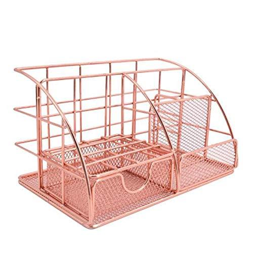 Organizador de escritorio con cajón, compartimento y soporte para bolígrafos, organizador de papel vertical, multifuncional, para oficina y escuela, oro rosa