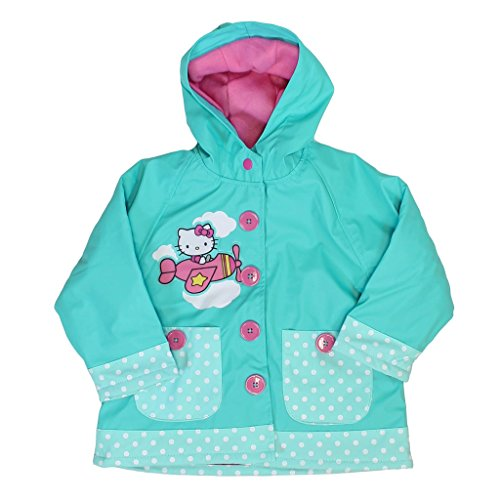 Western Chief Hello Kitty Hooded Raincoat for Girls (3T, Sky Blue)