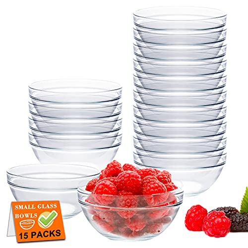 15 Pack 4 Inch Glass Ramekins Bowls, Farielyn-X Mini Glass Prep Dessert Bowls Small for Kitchen Prep, Dessert, Dips, and Candy Dishes or Nut Bowls