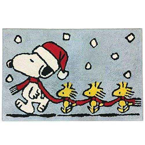 Peanuts Worldwide Santa Snoopy and Woodstock Cotton Bath Rug, 30-Inch x 20-Inch