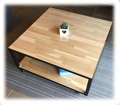 Table basse artisanale bois et métal acier