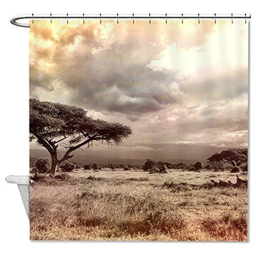 rioengnakg Schimmelresistent Stoff Savanne Afrika Polyester Duschvorhang wasserdicht, Polyester, #1, 72