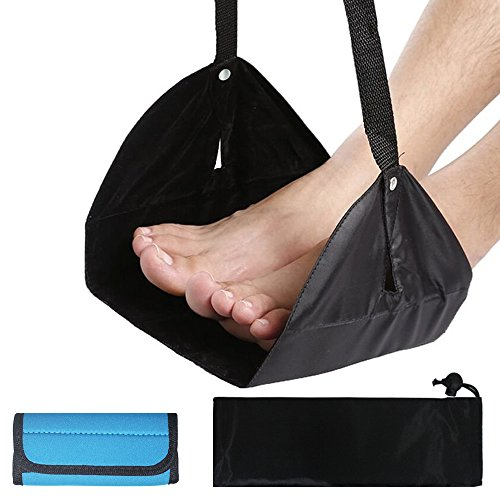 Travel Footrest with Luggage Handle Wrap, AFUNTA Adjustable Height Flight Carry-on Foot Rest Hammock, with Suitcase Handle Wrap Grip - Black, Blue