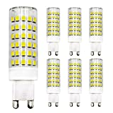 Bombilla LED G9 regulable de 7 W equivalente a 60 W bombilla halógena de luz blanca fría 6500 K, 220 V-240 V, 6 unidades