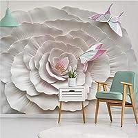 3D壁紙壁画三次元花花蝶寝室リビングルームテレビ背景壁家の装飾壁紙-250x175cm