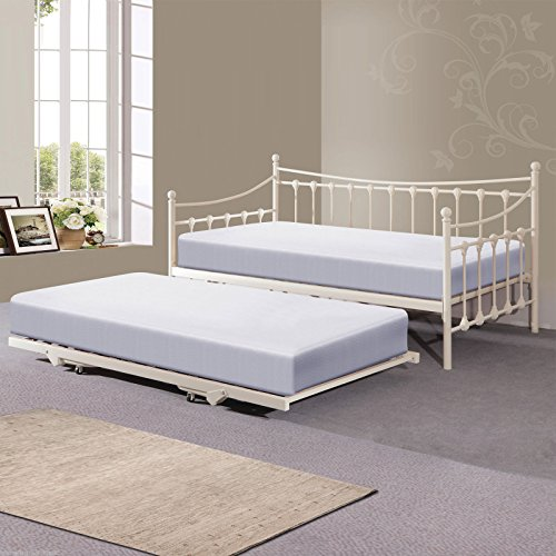 Hf4you Memphis Day Bed With Trundle - 3FT Single - Ivory - x2 Memory Foam Mattresses Included