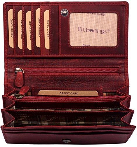 Hill Burry hochwertige Geldbörse | aus weichem Vintage Leder - Langes Portemonnaie - Kreditkartenetui - RFID (Rot)