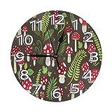 GOSMAO Reloj de Pared Redondo, Arte de Seta de Toadstool, Reloj de decoración del hogar para Sala de Estar, Dormitorio, Oficina