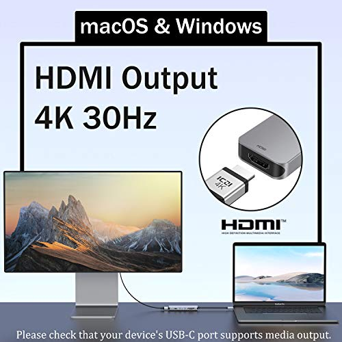 ICZI USB C Adapter Dex Station 6 in 1 USB C Hub mit HDMI 4K, 2 USB 3.0, USB C PD 60W (20V, 3A) und SD/Micro SD Kartenleser Aluminium für Huawei P30 Surface Go MacBook Pro 2018 Galaxy S9 Type C Geräte