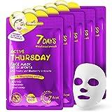 Masque Visage 5 Pièces Soin Quotidien Après Acnés Effet Antioxydant et Antiseptique Pour tout Types de Peaux Extrait de Pivoine 5x28g / Jeudi | 7DAYS