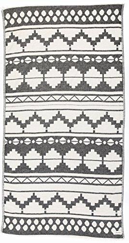 Bersuse 100% Katoen - Baja Turkse Handdoek - Peshtemal Strandlakens - Bohemian Style - Dual Layer, OEKO-TEX - 95 x 175 cm, Zwart
