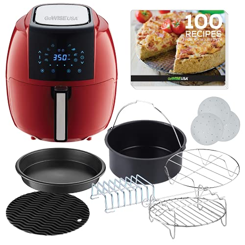 GoWISE USA 5.8-Quart 8-in-1 Air Fryer with Recipe Book, 6 piece Accessory Set and 1 Pack of Parchment Paper