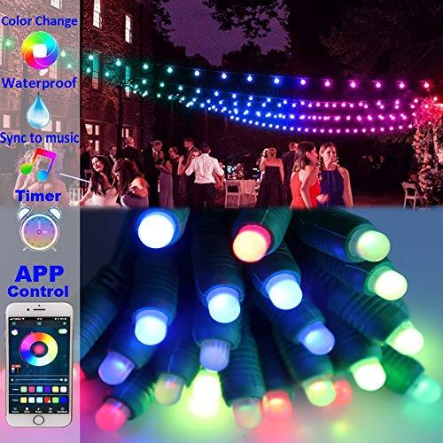 Luces de cadena cambiantes de color al aire libre 50 LED 25 pies impermeable sueño Twinkle LED luces para boda fiesta vacaciones Navidad jardín patio trasero decoración